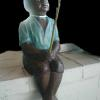 CobbGardens.com Classic - Fishing Boy Concrete Lawn Ornament Statuary Detail Painted Finish